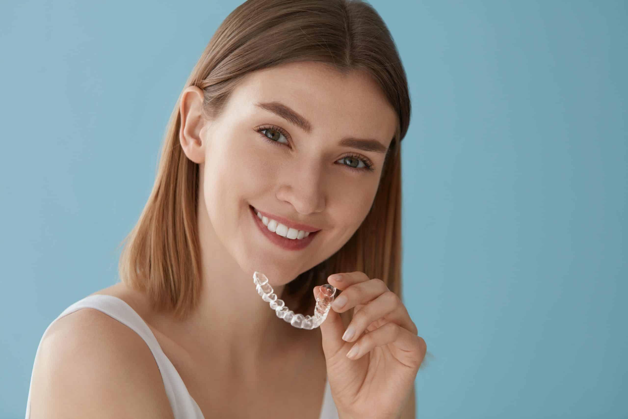 Sunbird Ortho - Teeth,Whitening.,Woman,With,White,Smile,,Healthy,Straight,Teeth,Using